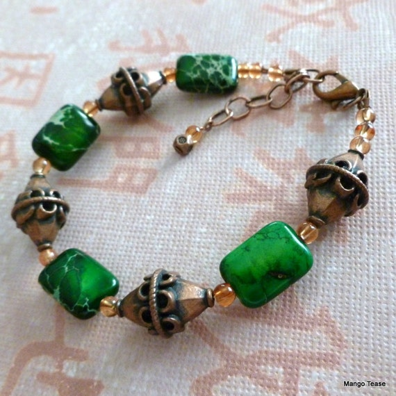 Irish Attitude Bracelet - Green Snakeskin Jasper Copper