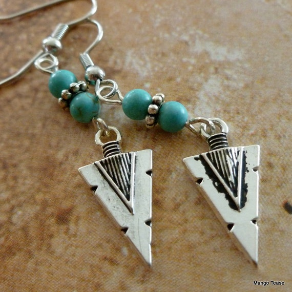 Arrowhead Shimmer Earrings - Arrowhead Charms Turquoise Dyed Jasper Beads Dangles Southwestern