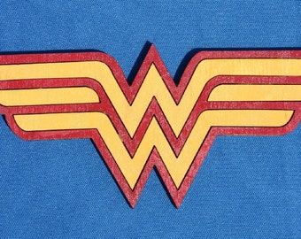 Wood Wonder Woman Superhero Magnet