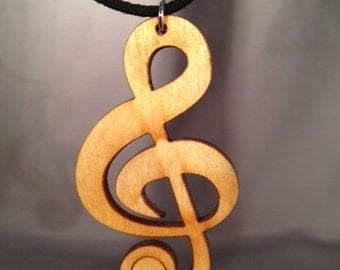 Treble Clef Wood Necklace Pendant