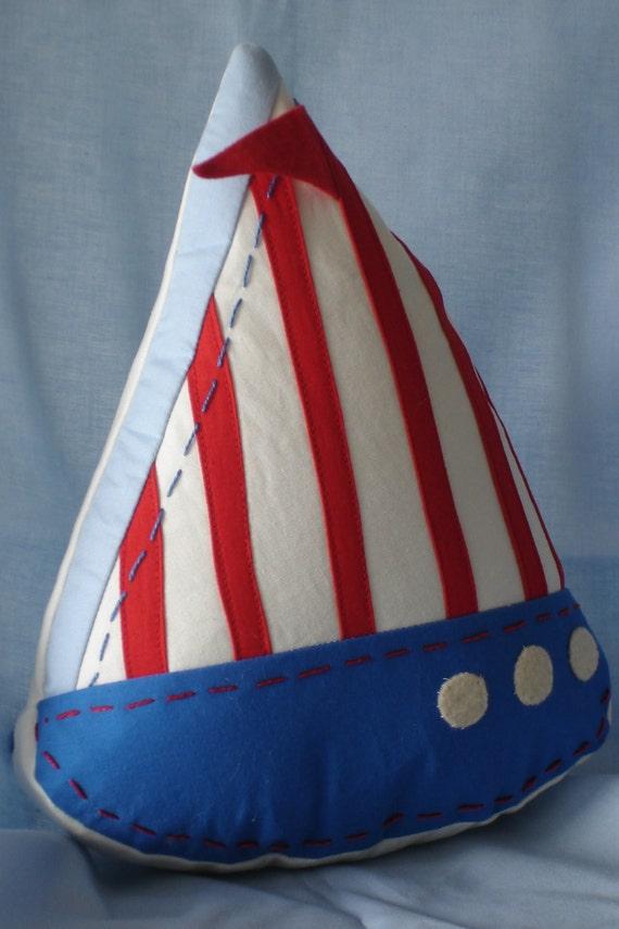 Nautical Sailboat Pillow Decorative Accent