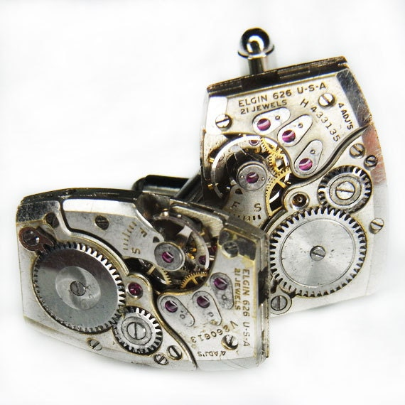 Steampunk Cuff Links Cufflinks - TORCH SOLDERED Watch Movements - Vintage Silver Rectangular ELGIN  - Business, Wedding, Gift - Ultra Cool