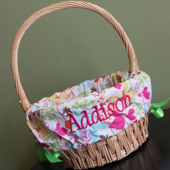 personalized monogrammed easter basket liner enchanted