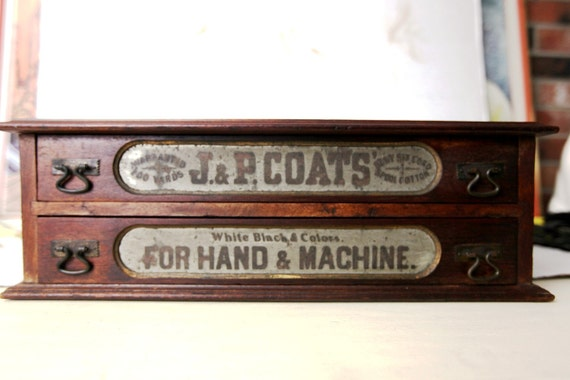 J&P Coats Spool and Thread Desk Top Cabinet/Drawer