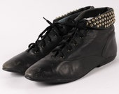 Black Leather Studded Booties Womans Size 7.5