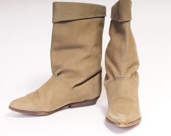 1980s short slouch boots ZODIAC Size 7 Beige