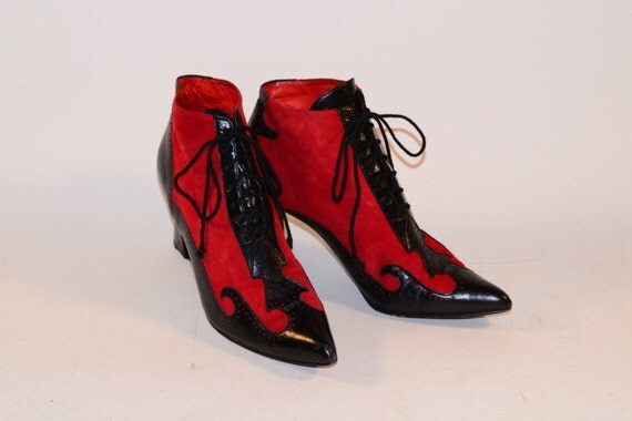 Donald J Pliner Red and Black Made in Spain Booties