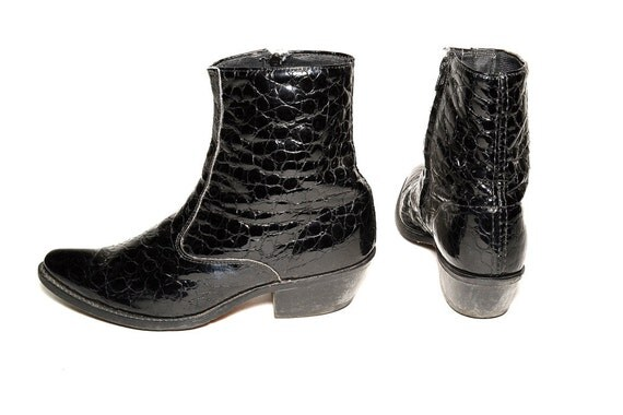 1980's black glossy glam faux-lizard Boots - Men Size 9