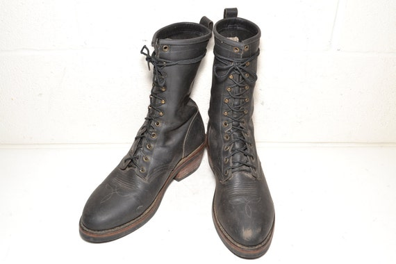 Vintage Black Leather Size 9 Lacer Boot Men's