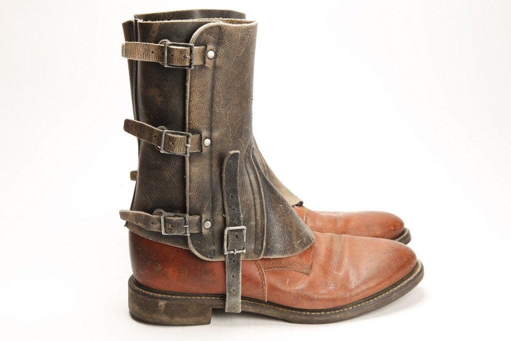 mens leather spats 04 boots not included free shipping