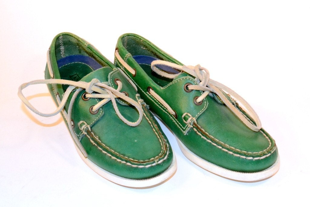 80's Green Boat Shoes Free Shipping