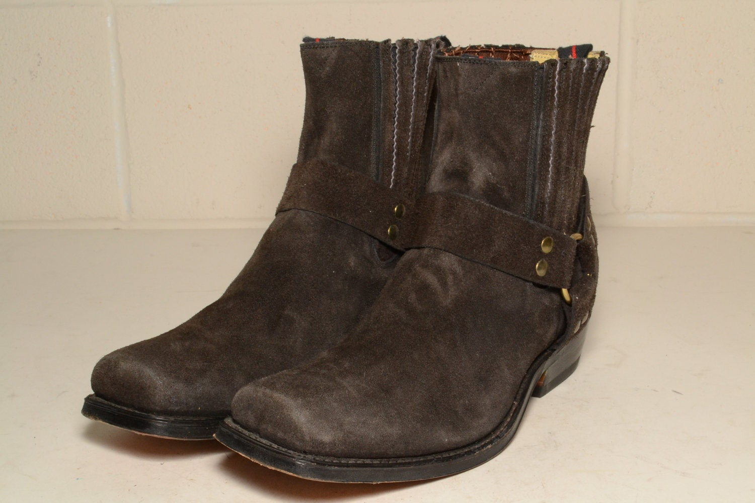 brown nana suede motorcycle boots harness by