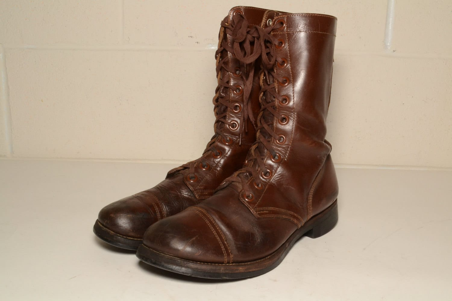 1950s us army brown captoe combat boots size 11