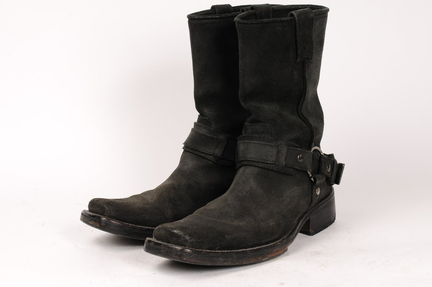 Mens Size 7 Black Suede Motorcycle Boots