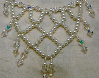 Wedding Net Necklace, Pearls & Crystals