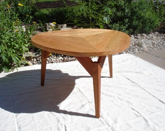 Mid Century Modern Styled Triangular Cherry Coffee Table