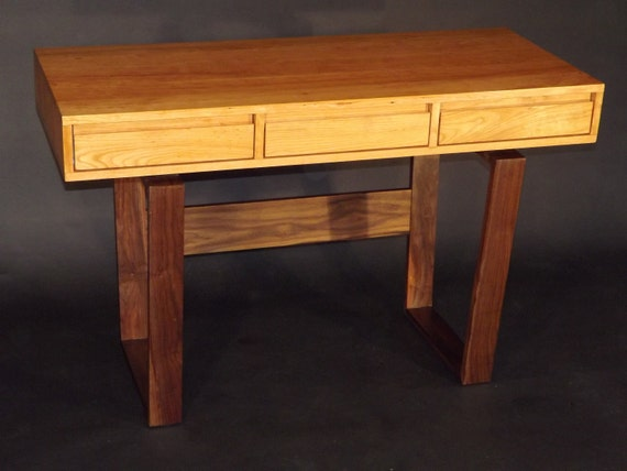 mid century modern styled laptop writing desk with drawers