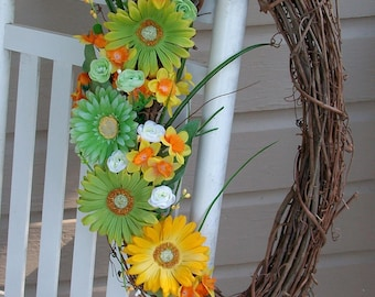 Summer sunflower oval grapevine Wreath with yellow daffodils, lime green  white roses, large green & yellow daisies