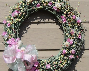 Shabby Victorian Chic grapevine wreath with pink & white roses with yellow green twig berries, sheer bow 20x20x7