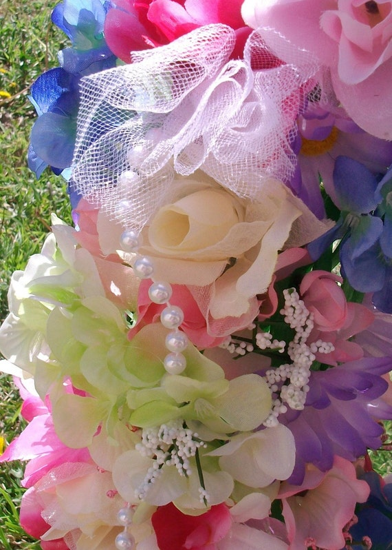 Shabby Chic Floral Mirror, pink roses, white tulle, lime & blue hydrangeas, baby's breath, pearls, daisies, azaleas