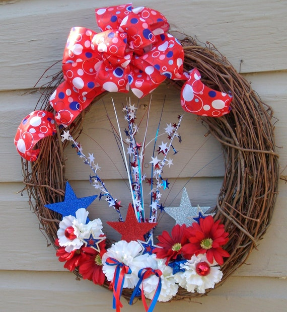 Patriotic Wreath of Red, White , Blue carnations, foiled sparklers on grapevine wreath