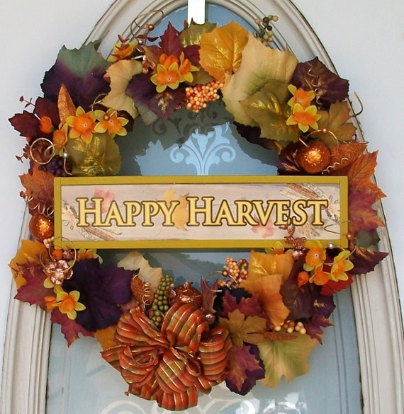Happy Harvest Wreath of Autumn colors of orange, fall rustic, maple brown, golden, burgandy, purple. Faux berries, gladiolas