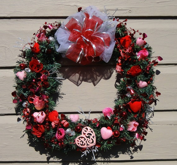Valentine Heart Wreath with red, pink, glitterd hearts, foiled garland, red, pink roses, red sheer bow 21x19x6