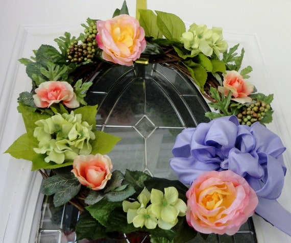Spring summer shabby chic victorian grapevine wreath of peach pink yellow roses, faux berries, lavender bow