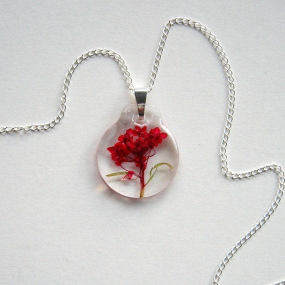 Red Alyssum - Real Flower Enchanted Garden Necklace