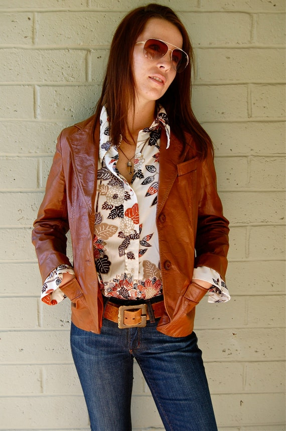 Vintage Chestnut Brown Leather Blazer