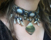 Moods of the Ocean - Choker, beaded, with shell & stones
