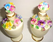 Exquisite-Vintage Staffordshire England-Pansies Flower-Fine Bone China with Gold KT- Perfume Bottles