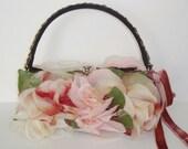 Designer Custom OOAK, Pinks,mauve,cream Vintage Millinery Silk Roses, Vintage Velvet Ribbon & Bronze trim-black satin, framed handbag
