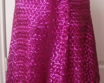 "Vintage Magenta Pink Metallic SEQUINS Woven Backing Fashion Fabric 2.5 yds 27""W"