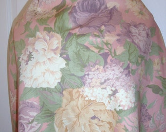 "Vintage CONCORD Pink Lavender Antique ROSES Lilacs Floral Shabby Cottage Chic Cotton Denim 3yd 62""W"