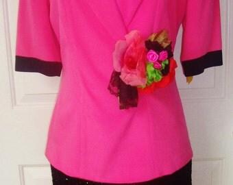 Sale Designer LIANCARLO-hot Pink & orange 4ply Silk-black Glitter band-Silk Flower Lace Corsage-Cocktail Dress-8
