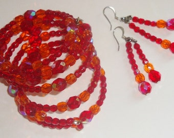 Vintage Designer BEN AMUN, Red Tangerine, Crystal Beaded, Earrings & Bracelet Set