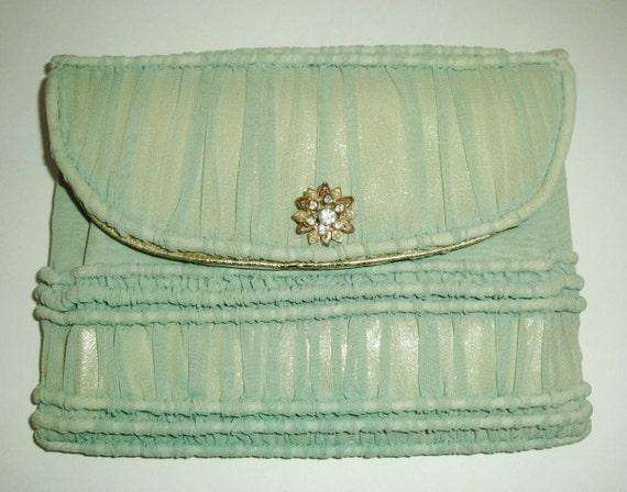 Vintage-Mint Green Ruched Silk Organza-Gold Metallic Leather-Rhinestone Pearl Pin-Clutch Purse Handbag