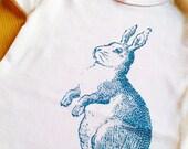 SALE - Blue Bunny Screen Print Cotton Baby Onesie Bodysuit