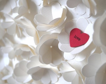 Wedding Gift, Personalized 1,001 3D Hearts - One red heart amongst a cascade of white flowers made from 1,000 hearts