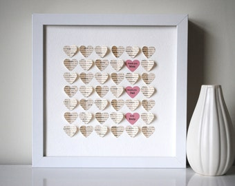 Parents' Thank You Gift, Personalized 3D Hearts - Made from a poem, song or message of your own