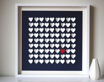 Unique Wedding Guest Book Alternative, Personalized Modern Framed Wedding Guestbook - 3D Hearts Guest Book - SMALL - for 120 guests