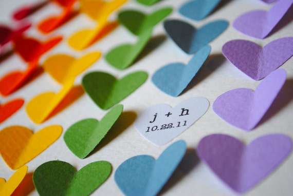 Personalized Wedding Gift - Rainbow 3D Hearts - Unique anniversary present