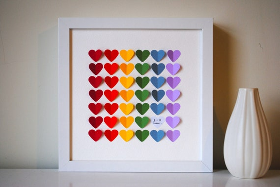 Wedding Guest Book Alternative - 3D Wedding Hearts - RAINBOW - XS - For up to 60 guests (includes frame, instruction card & pen)