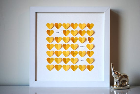 Baby Gift, Personalized Framed 3D You Are My Sunshine Song Hearts - Yellow (Unique baby shower gift)