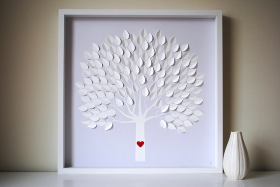 Wedding Guest Book Alternative - 3D Wedding Tree Personalized - LARGE - For up to 225 guests (includes frame, instruction card & pens)