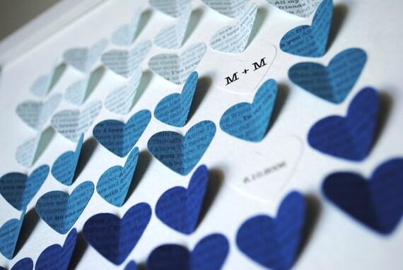 Lyric Wedding Gift Frame - 3D Song Hearts Framed Art Wedding or Anniversary - Blue Color Fade (Unique wedding or anniversary present)