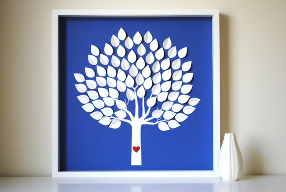 Unique Wedding Guest Book, Wedding Guest Book Alternative - Personalized Framed 3D Wedding Guestbook Tree - SMALL - for 130 guests