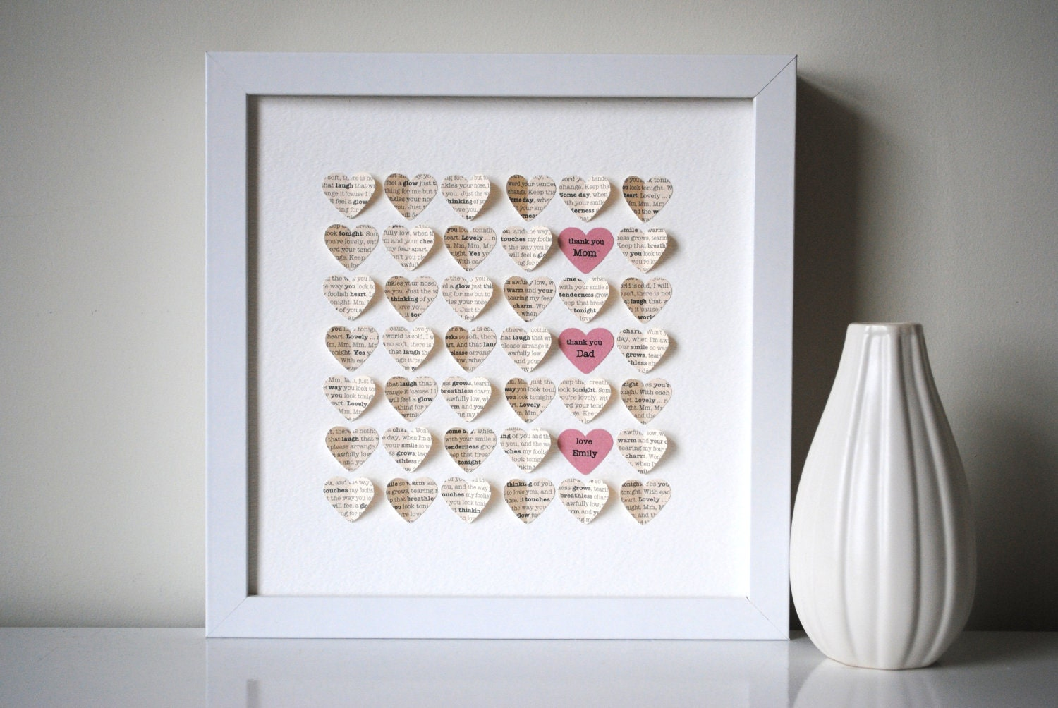 Unique Gifts Wedding: Parents' Thank You Gift Personalized 3D Hearts Made