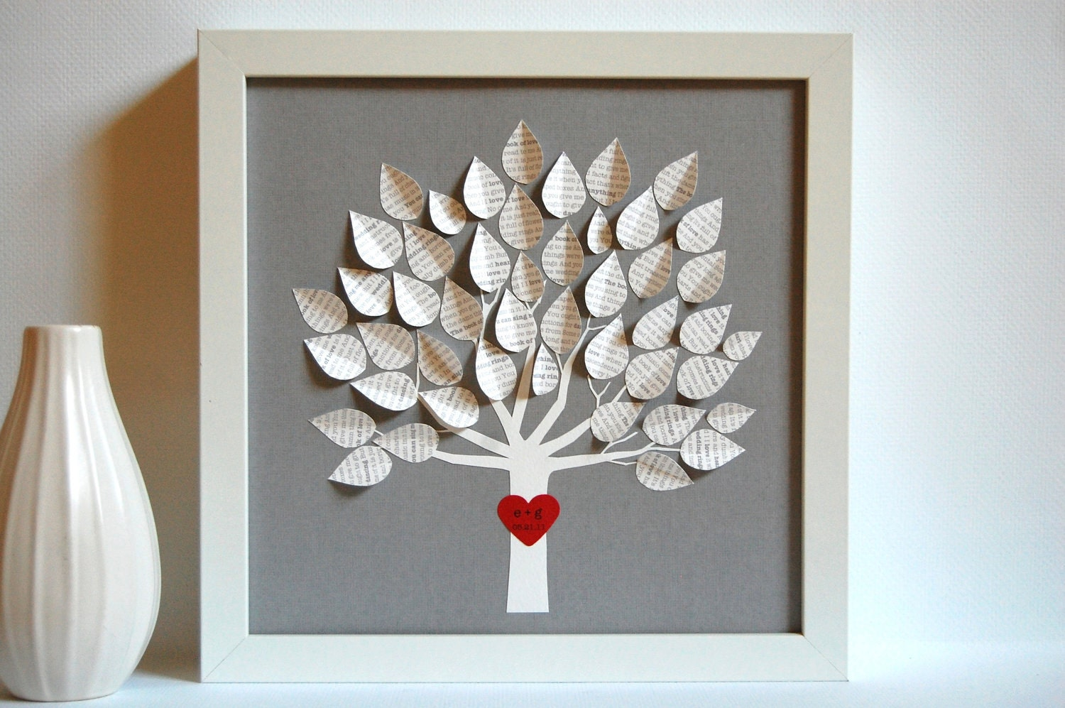 Wedding Gift Personalized 3D Song Tree Gray made with